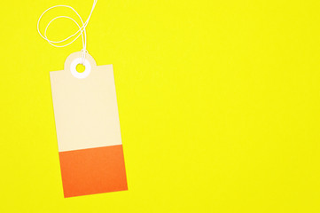decorated rectangle paper tag on yellow background horizontal template
