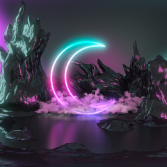 Crescent moon, pink blue neon lights, rendering illustration