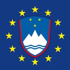 Slovenia coat of arms on the European Union flag, vector illustration
