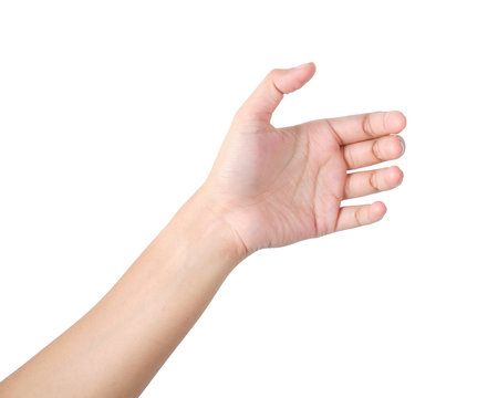 Empty Woman's hand gesture, isolated clipping path.
