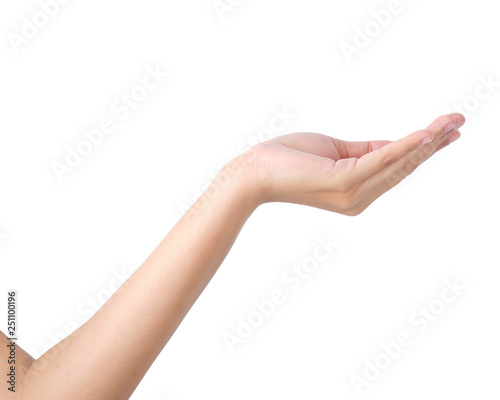 e29d0d2de9520 Woman's hand holding something on isolated with clipping path ...