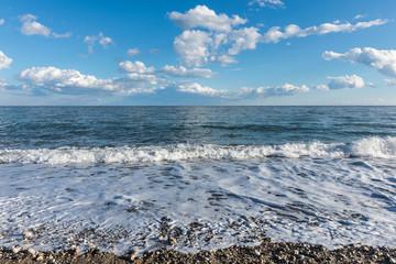 Mediterranean sea in cloudy weather in winter near Kemer, Turkey