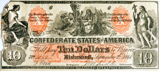 Real Confederate States of America Counterfeit Bill.