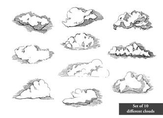 Hand drawn vintage engraved clouds vector set. Detailed ink illustration. Sky, heaven, cloud sketch, retro style.Big set of coluds.