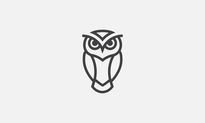 Tuinposter Uilen cartoon owl illustration, owl logo design, vector