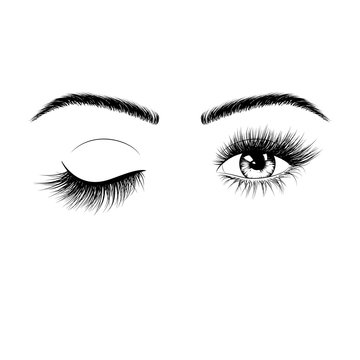 Hand drawn female eyes silhouette. Wink one eye. Eyes with eyelashes and eyebrows. Vector illustration isolated on white background
