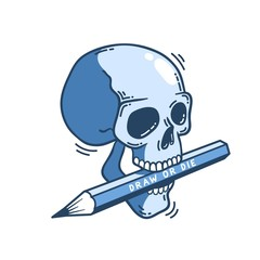 Skull with a pencil in his teeth