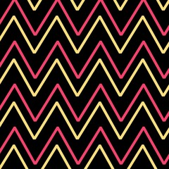 Colorful zigzag striped seamless pattern for backgrounds cute pastel pink, baby yellow, purple and violet color and design - modern painting art - Illustration