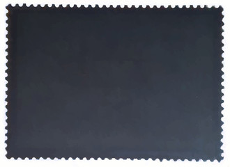 Dark gray posted stamp reverse  side with the edge of the sheet. Vector illustration