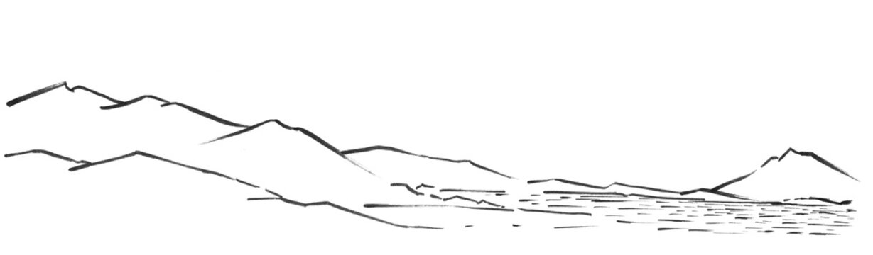 volcanic mountain ranges on the shores of a lake or ocean. Desert lifeless landscape. Hand-drawn linear sketch with ink.
