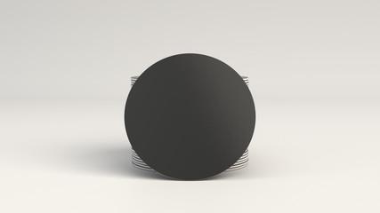 Mockup of blank black round beer coasters