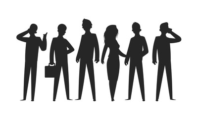 Business people silhouettes. Businesswoman professional person office team group man ad woman in suits. Vector silhouettes