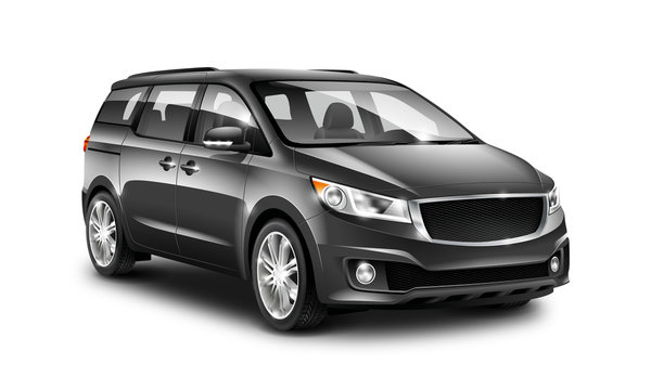 Black Generic Minivan Car On White Background. MUV, MPV Or High Roof Family Automobile. Perspective View Illustration With Isolated Path.