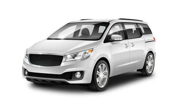 White Metallic Generic Minivan Car On White Background. MUV, MPV Or High Roof Family Automobile.