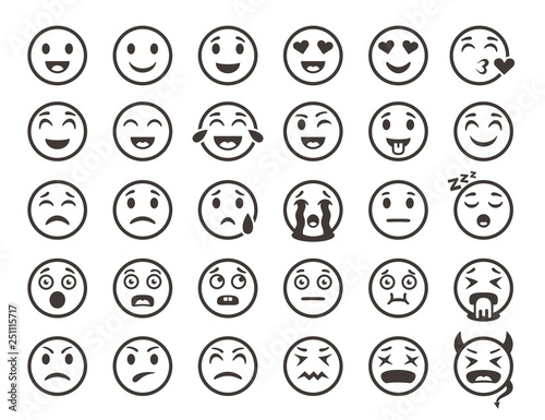 Emoticons outline  Emoji faces emoticon funny smile vector line