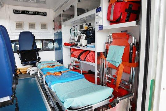 Interior of an ambulance.