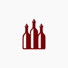 wine bottle logo design background with arrow bottle cap. luxury Vector illustration