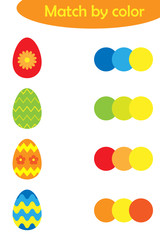 Matching game for children, connect colorful easter decoration eggs with same color palette, preschool worksheet activity for kids, task for the development of logical thinking, vector illustration