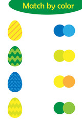 Matching game for children, connect colorful easter eggs with same color palette, preschool worksheet activity for kids, task for the development of logical thinking, vector illustration