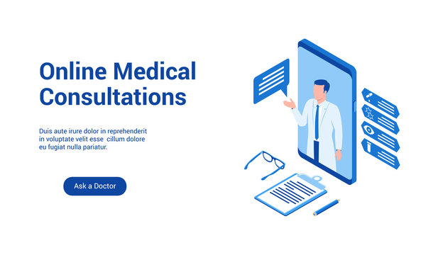 Isometric landing page template for medical consultation online. Vector illustration mock-up for website and mobile website