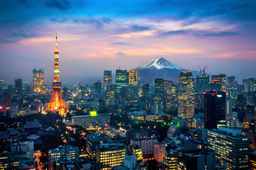 Aerial view of Tokyo cityscape with Fuji mountain in Japan. Wall mural