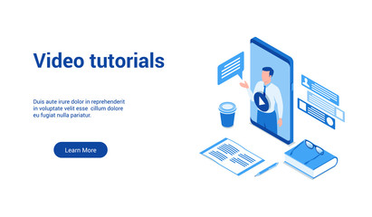 Isometric landing page template for video tutorials. Vector illustration mock-up for website and mobile website