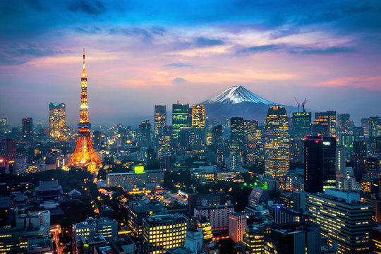 Aerial view of Tokyo cityscape with Fuji mountain in Japan.