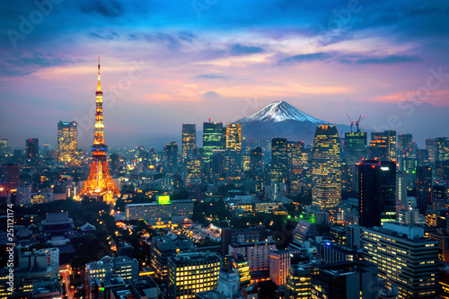 Wall mural Aerial view of Tokyo cityscape with Fuji mountain in Japan.
