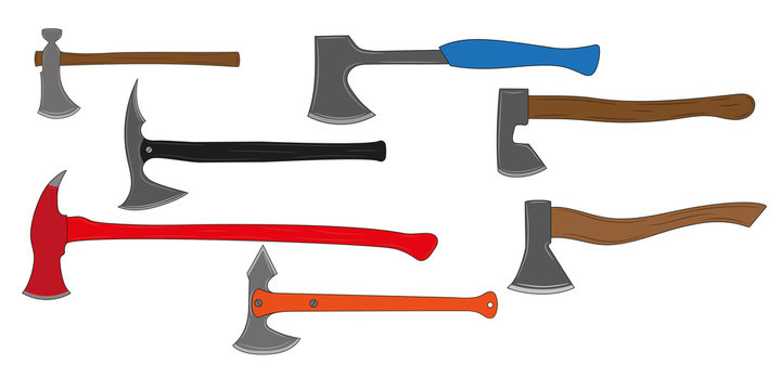 A set of all kinds of axes. Colored silhouettes of axe. Vector illustration.