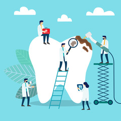 Doctors who treat giant teeth like cures. Dental clinic concept