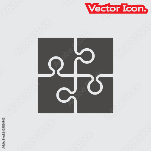 Puzzle icon isolated sign symbol and flat style for app, web