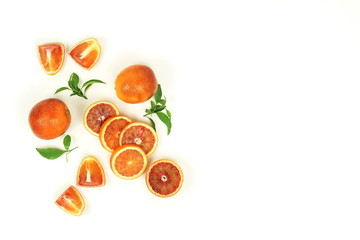 Red blood orange fruit slices set isolated on white background. flat lay. top view. copy space