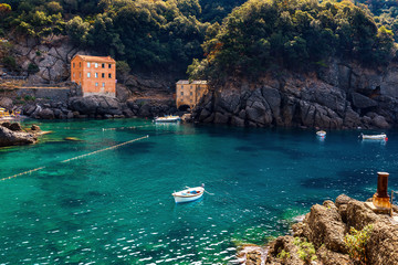 Small bay in San Fruttuoso, Italy.