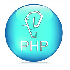 php programming language icon symbol with php text crystal button logo