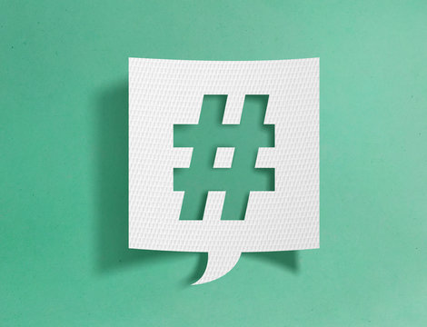 Speech bubble with hashtag symbol