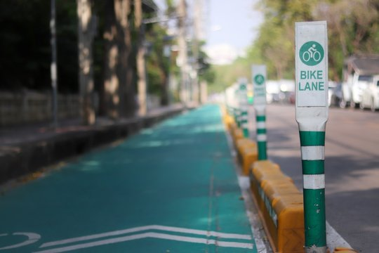 Bike lanes in Bangkok with lanes on the road for cyclists only.