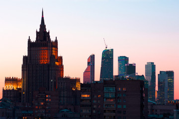 The view of the city and the Skyscrapers in the center of Moscow    Photos taken in winter and summer 2017 in Moscow, building, sky, city