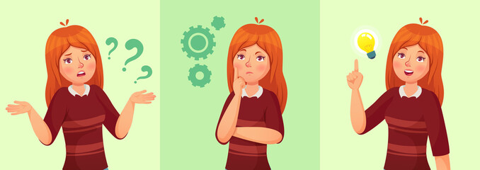Teen girl think. Confused young female teenager, thoughtful girl student and answering question vector cartoon illustration