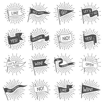 Vintage flag banner. Hand drawn retro flags welcome, lets go and get started scroll banners with starburst rays isolated vector set