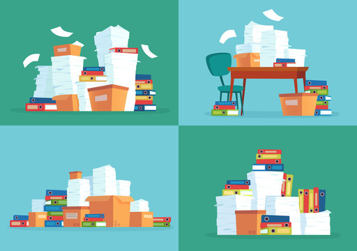 Office paper documents. Work papers pile, document folders and paperwork documentation files stack cartoon vector illustration set