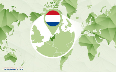 America centric world map with magnified Netherlands map.