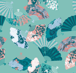 Japanese fan pattern with a picture of chrysanthemums and cranes artwork for tattoo, fabrics, souvenirs, packaging, greeting cards and scrapbooking