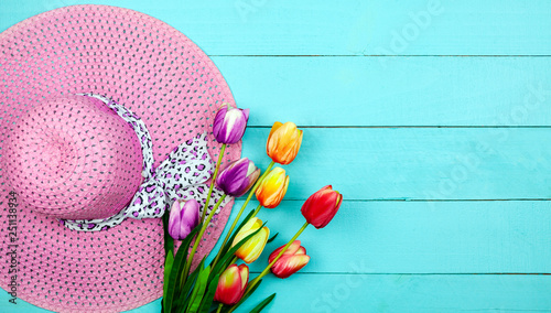 Spring flower of multi color Tulips on wood ,Flat lay image for holiday greeting card for Mother's day,Valentine's day, Woman's day and copy space space for your text