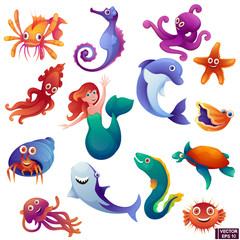 Set of cartoon marine inhabitants.