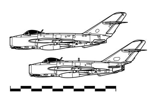 Mikoyan MiG-17 Fresco. Outline drawing