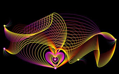 Stylized wavelike impulses and waves on black background. Print with grid for medical poster with heart. Vector image.