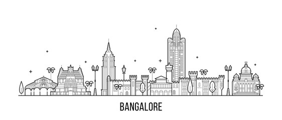 Fototapete - Bangalore skyline Karnataka India city vector line