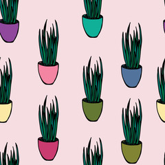 Aluminium Prints Plants in pots Colorful plant seamless pattern design
