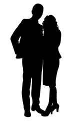 a couple silhouette vector