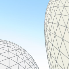 The building in modern style is illuminated by the day sun. White domes. 3D illustration.
